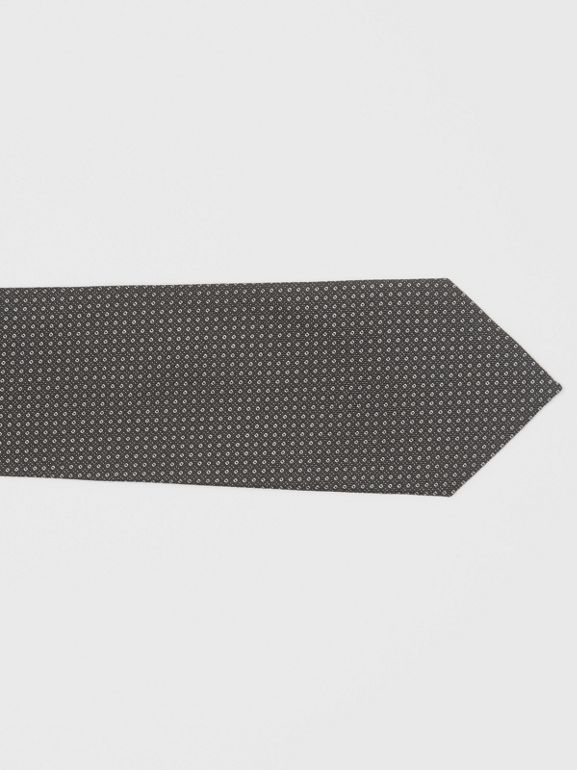 Classic Cut Micro Dot Silk Jacquard Tie in Black - Men | Burberry United Kingdom - cell image 1