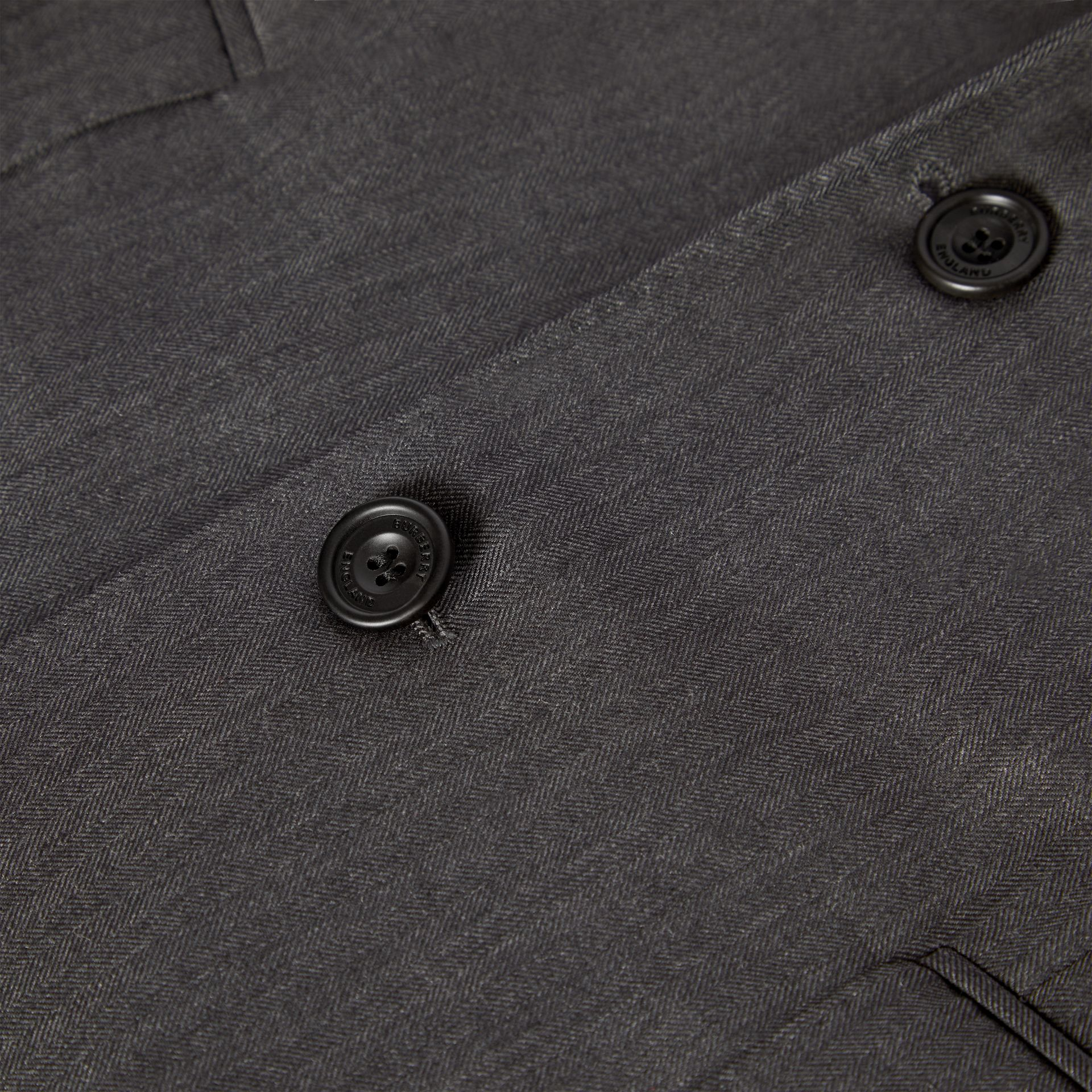 Slim Fit Herringbone Wool Suit in Mid Grey - Men | Burberry - gallery image 2
