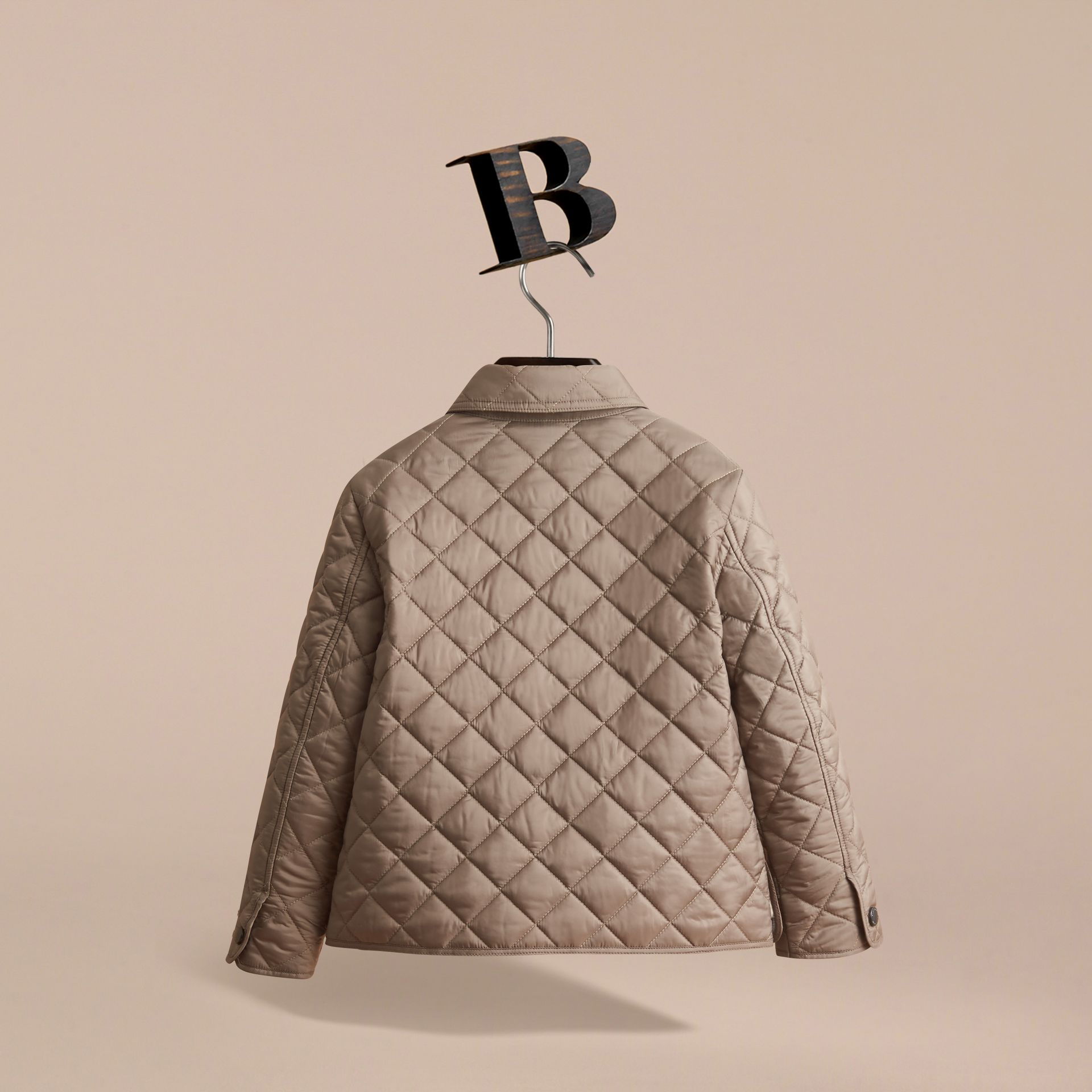 Diamond Quilted Jacket in Dark Mushroom - gallery image 4