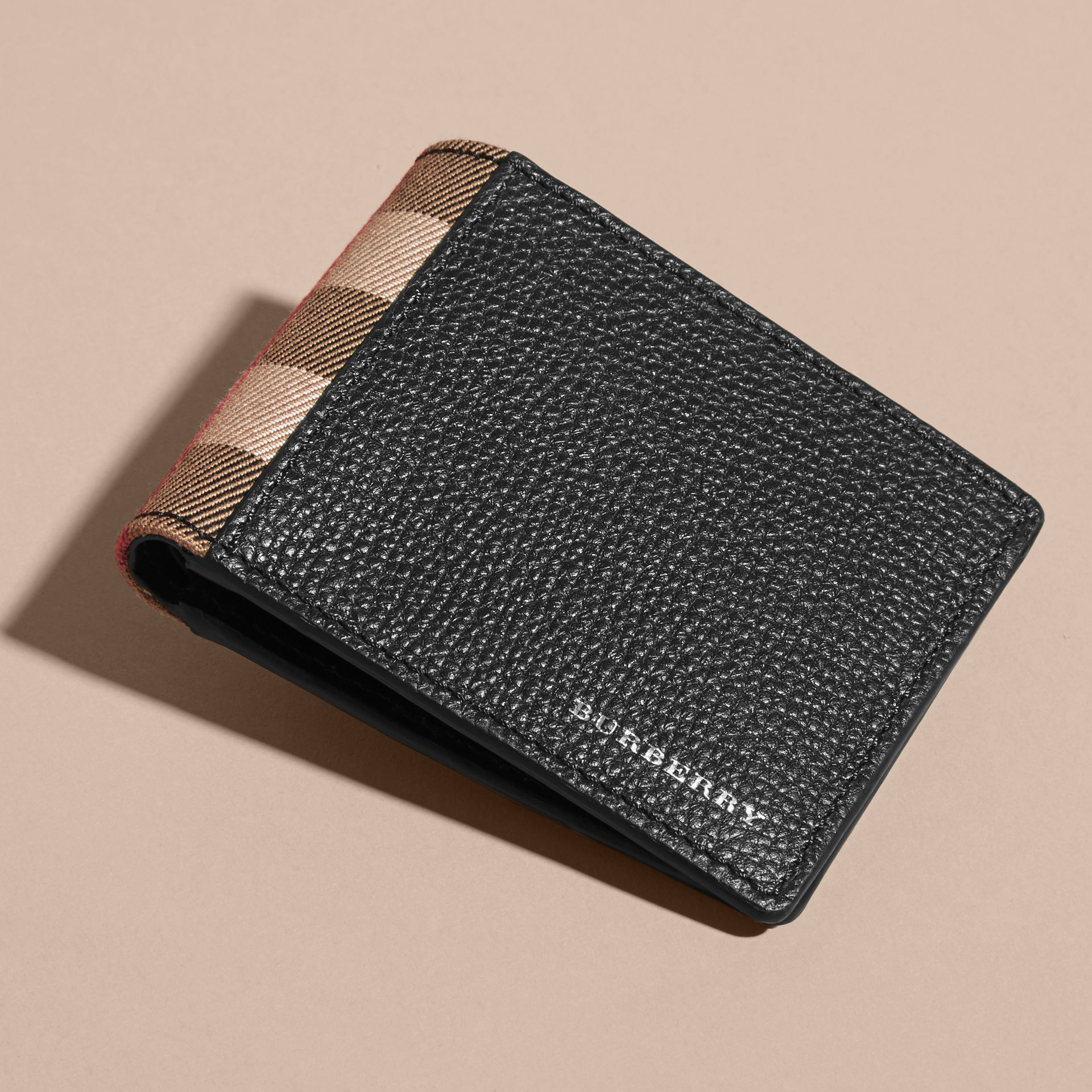 Grainy Leather and House Check Bifold Wallet in Black | Burberry - gallery image 4