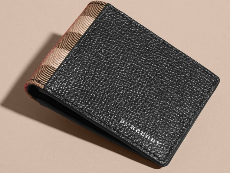 Grainy Leather and House Check Bifold Wallet in Black | Burberry - cell image 4