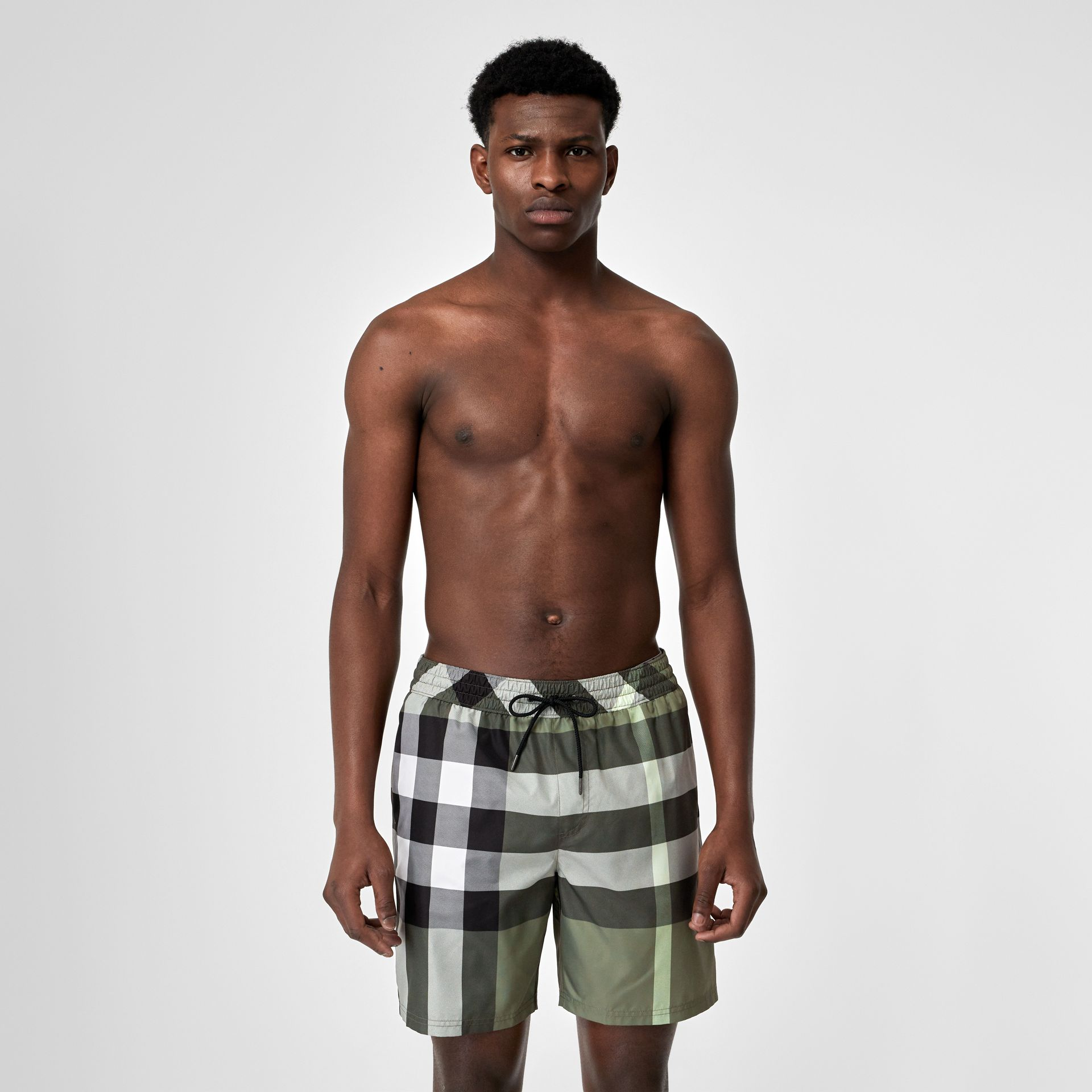 Check Drawcord Swim Shorts in Chalk Green - Men | Burberry United Kingdom - gallery image 0