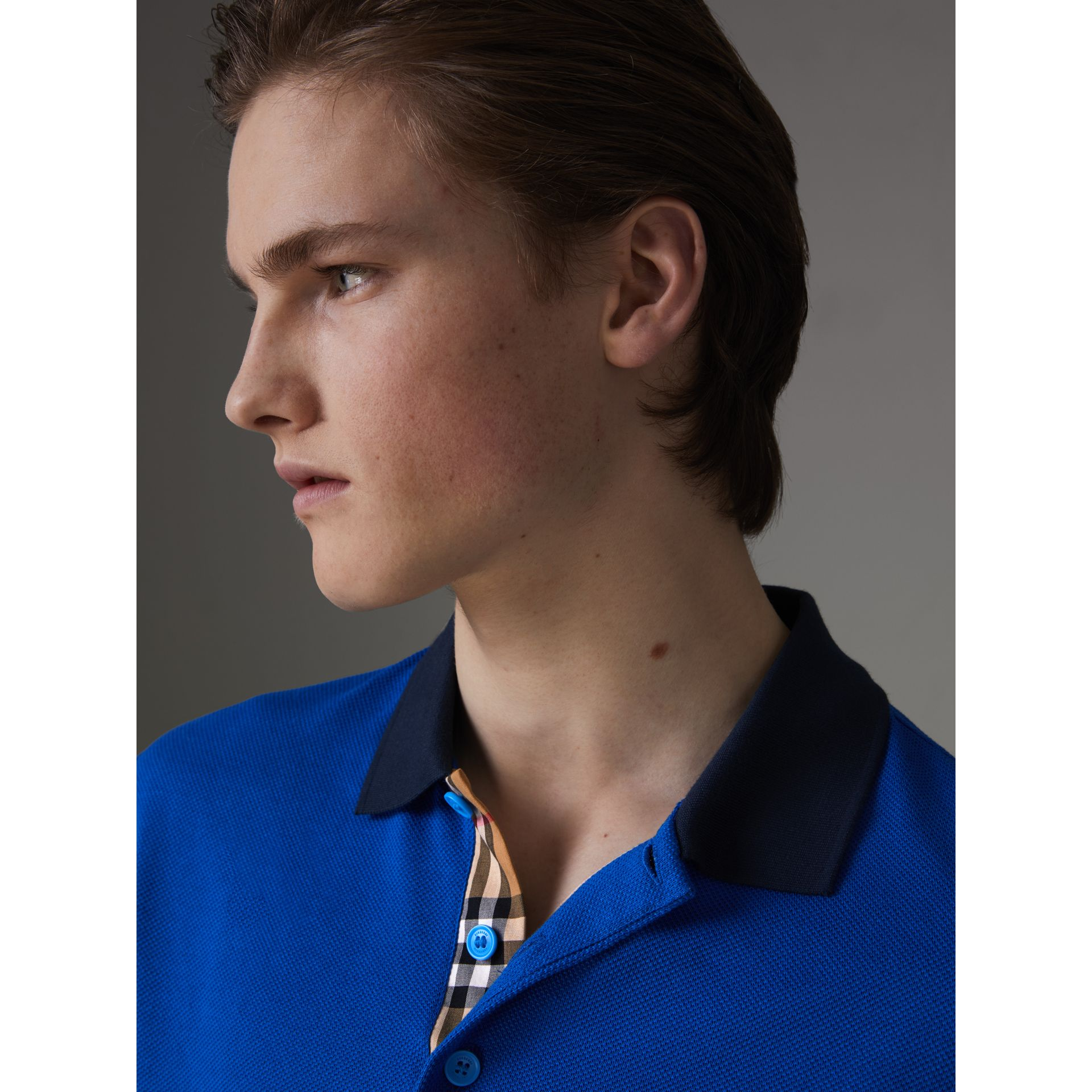 Contrast Collar Cotton Polo Shirt in Cerulean Blue - Men | Burberry - gallery image 1
