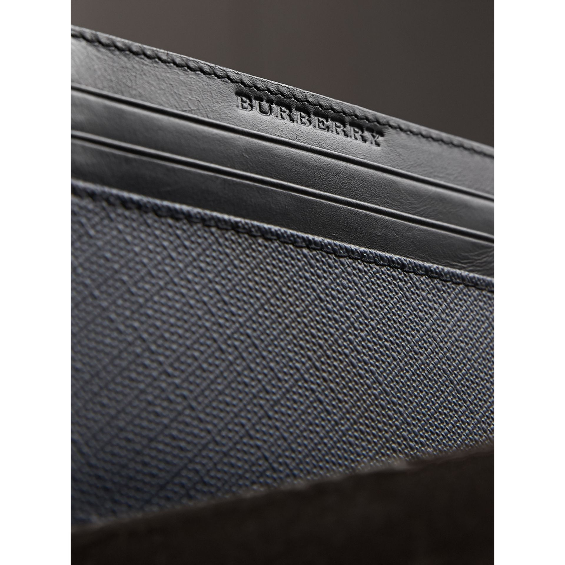 London Check Card Case in Navy/black - Men | Burberry United Kingdom - gallery image 1