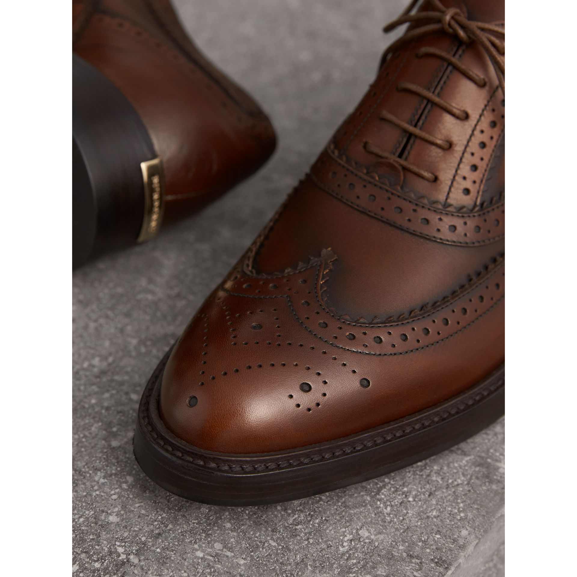 Leather Wingtip Brogues in Bright Camel - Women | Burberry - gallery image 2