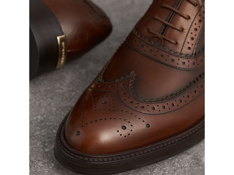 Leather Wingtip Brogues in Bright Camel - Women | Burberry - cell image 1