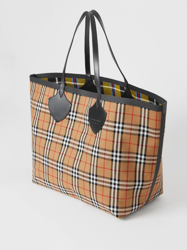 Borsa tote The Giant reversibile in cotone con motivo Vintage check (Giallo Antico) | Burberry - cell image 3