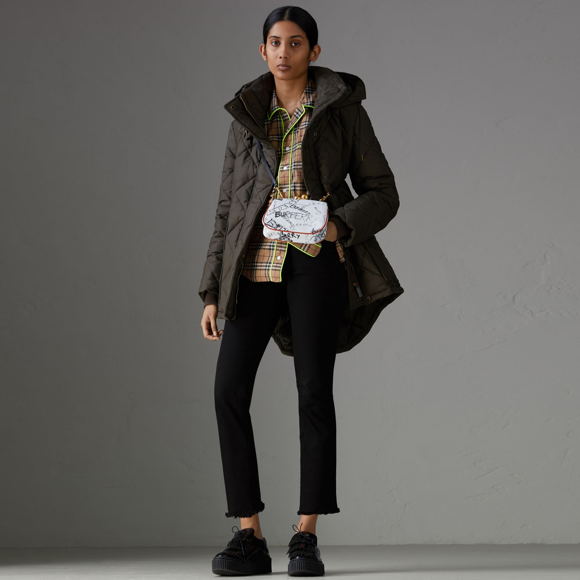 Detachable Hood Quilted Oversized Jacket in Olive - Women | Burberry - gallery image 0