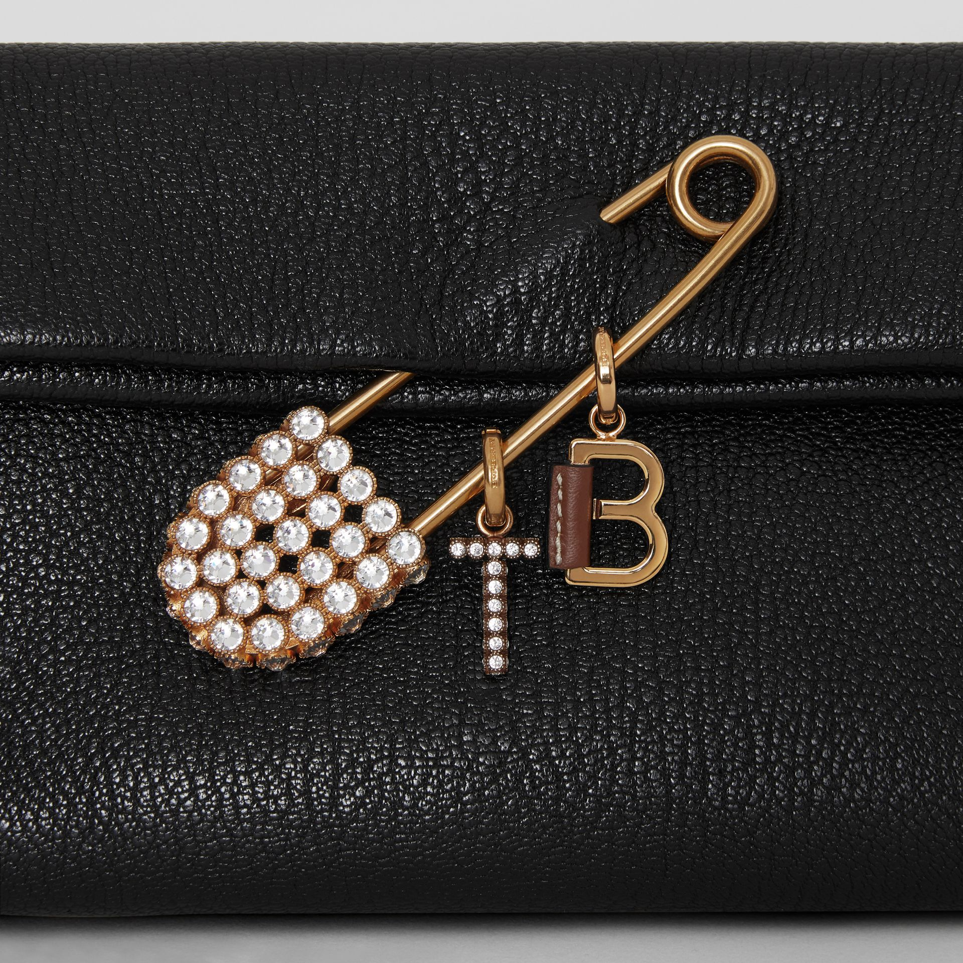 Leather-topstitched 'V' Alphabet Charm in Palladio/black - Women | Burberry United Kingdom - gallery image 2