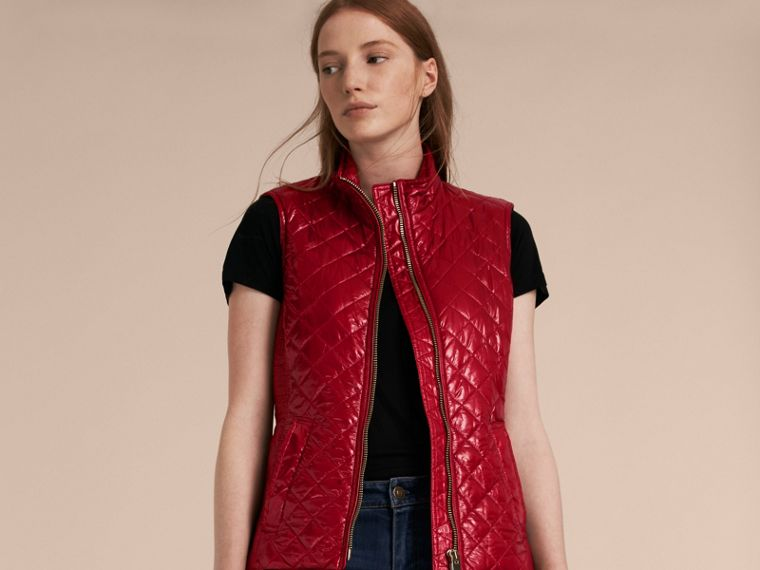 Garnet Fur-trimmed Hood Trench Coat with Detachable Gilet Garnet - cell image 4