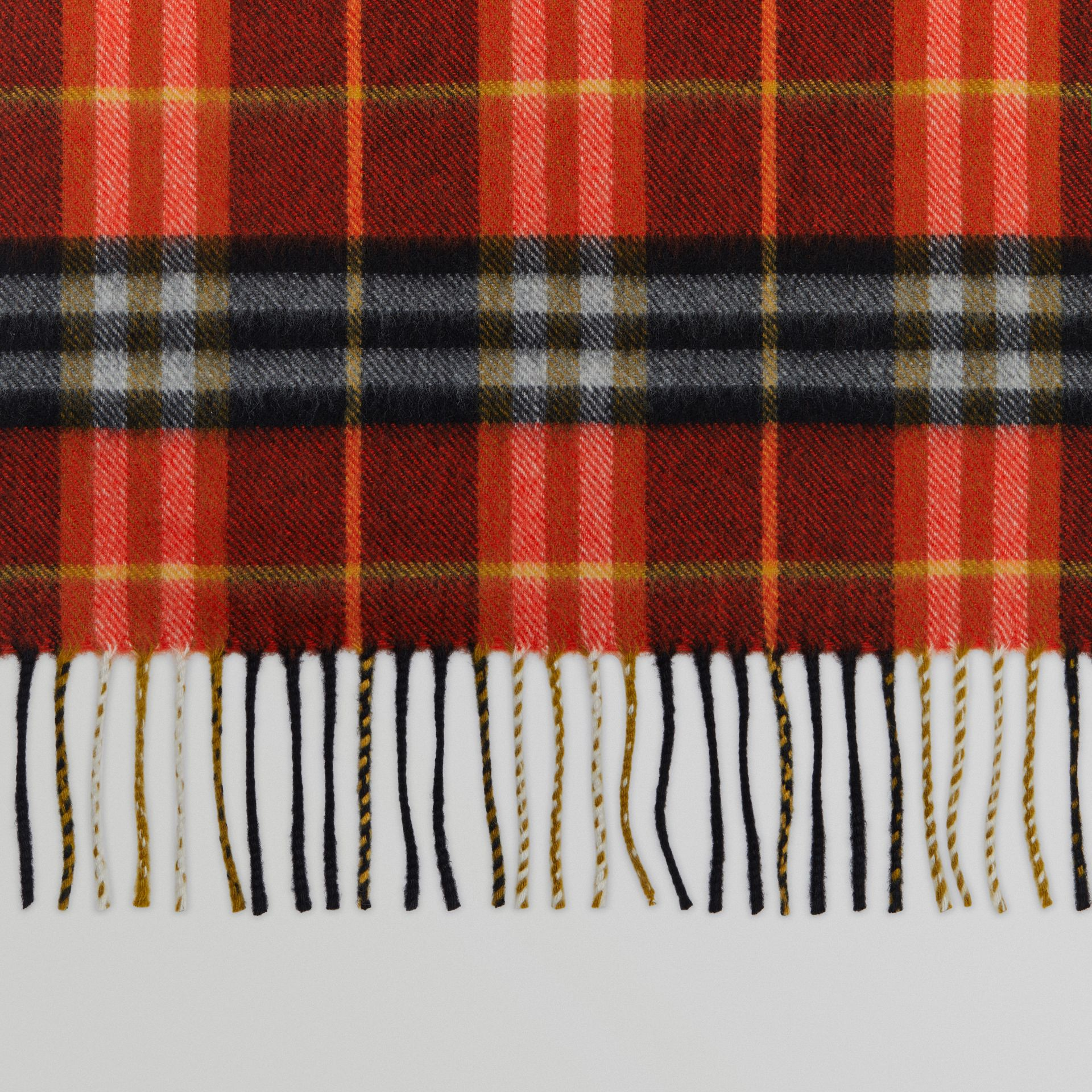Check Cashmere Scarf in Orange Red | Burberry - gallery image 1