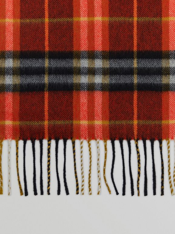 Check Cashmere Scarf in Orange Red | Burberry - cell image 1