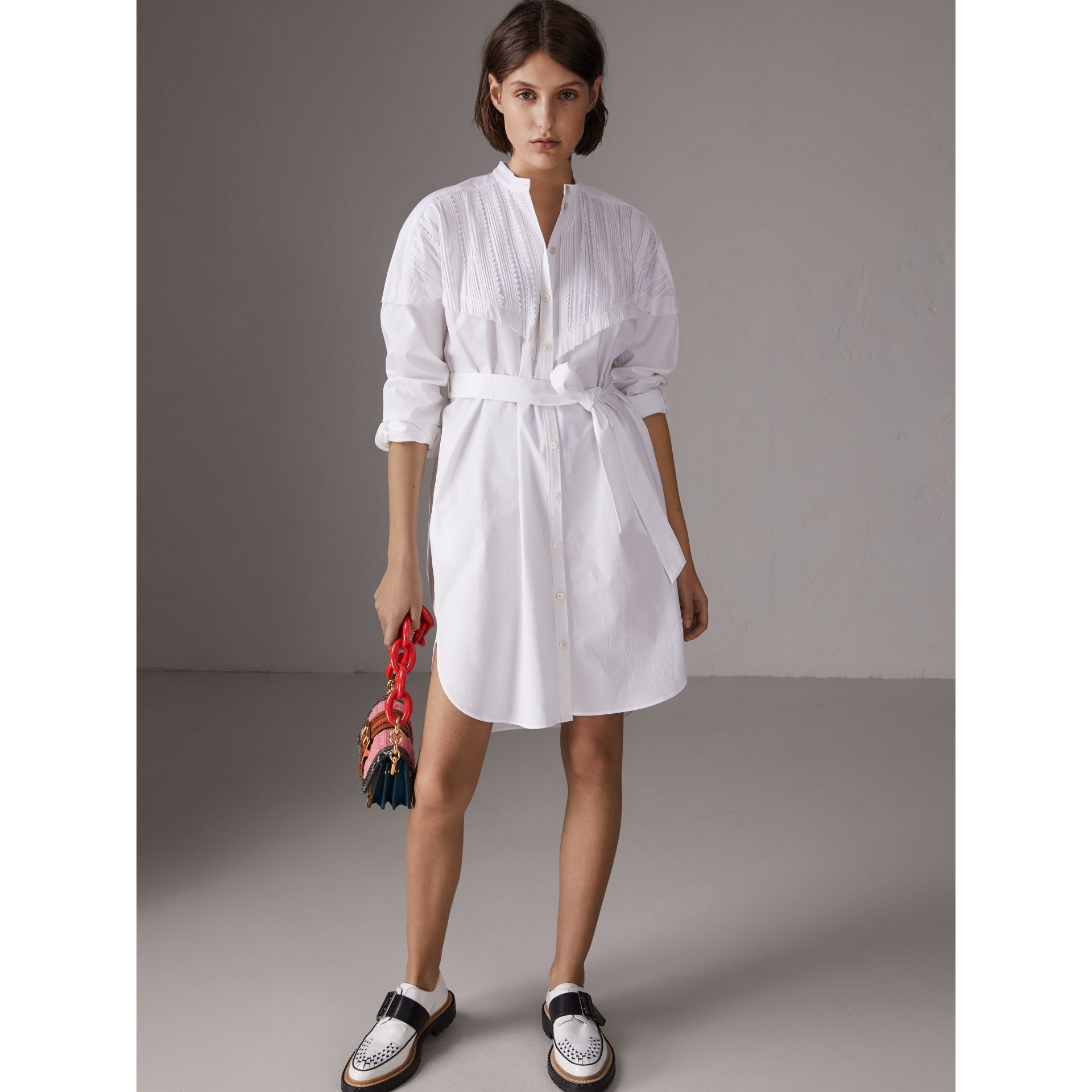 Pintuck Detail Stretch Cotton Shirt Dress in White - Women | Burberry - gallery image 5