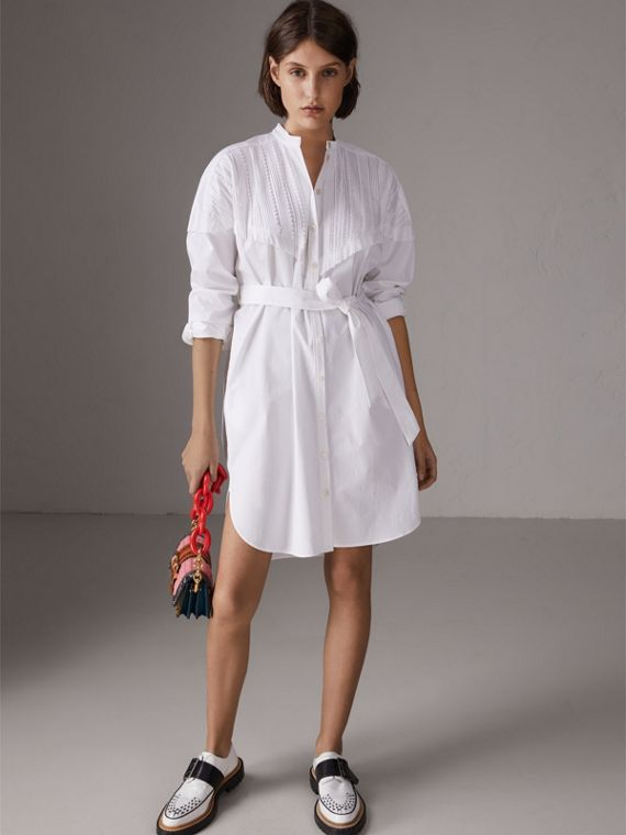 Pintuck Detail Stretch Cotton Shirt Dress in White
