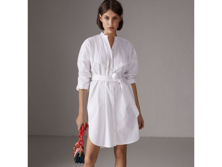 Pintuck Detail Stretch Cotton Shirt Dress in White - Women | Burberry - cell image 4