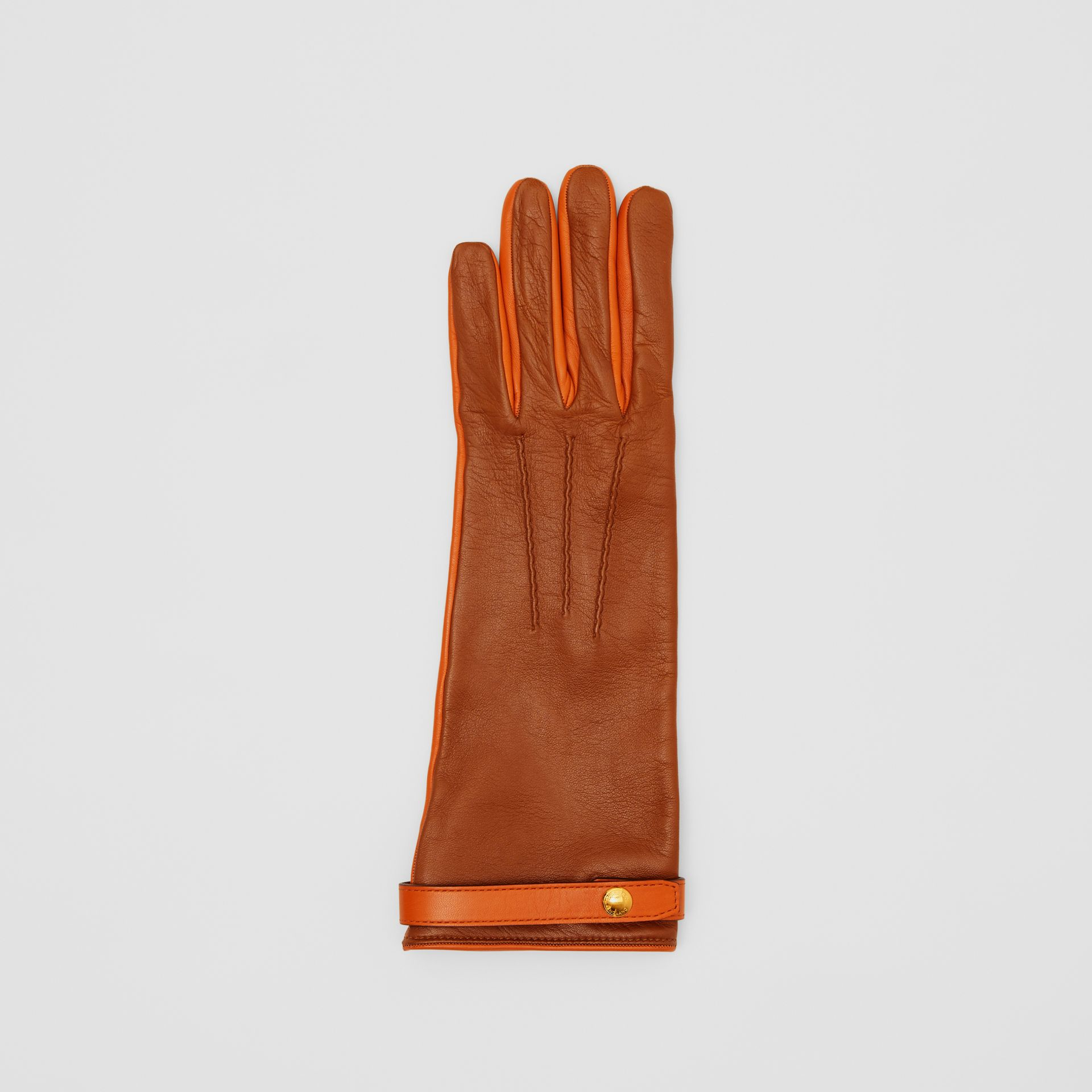 Silk-lined Two-tone Lambskin Gloves in Brown | Burberry - gallery image 2