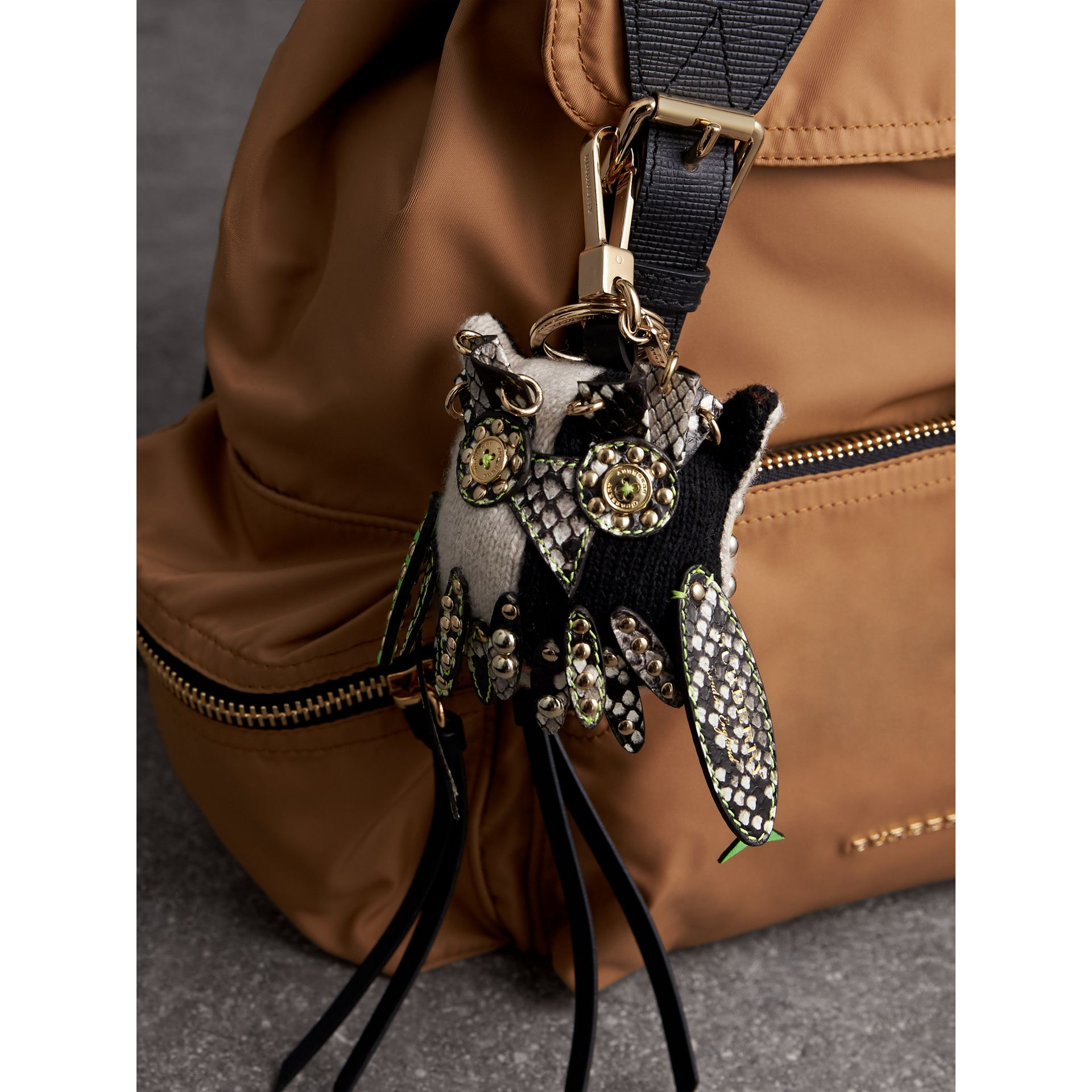 Mavis The Owl Wool Charm in Stone | Burberry - gallery image 2