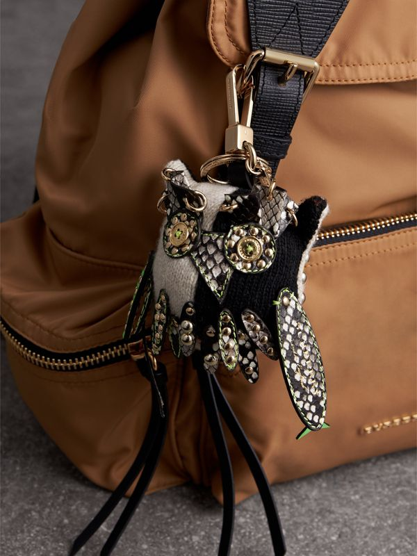 Mavis The Owl Wool Charm in Stone | Burberry - cell image 2