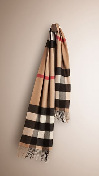 Oversize Check Cashmere Scarf