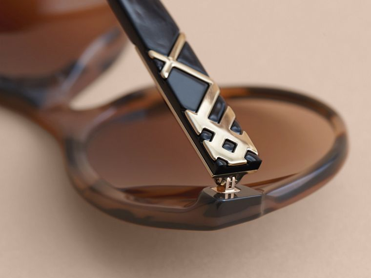 Check Detail Round Frame Sunglasses in Amber - Women | Burberry - cell image 1