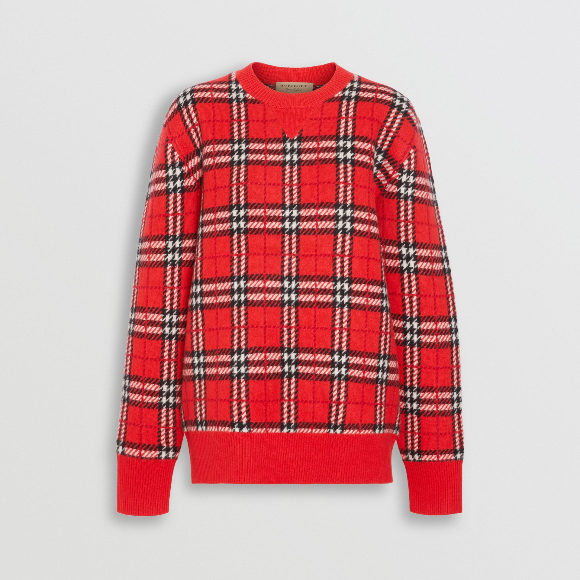 Check Cashmere Jacquard Sweater in Parade Red - Women | Burberry - gallery image 3
