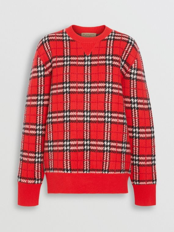 Check Cashmere Jacquard Sweater in Parade Red