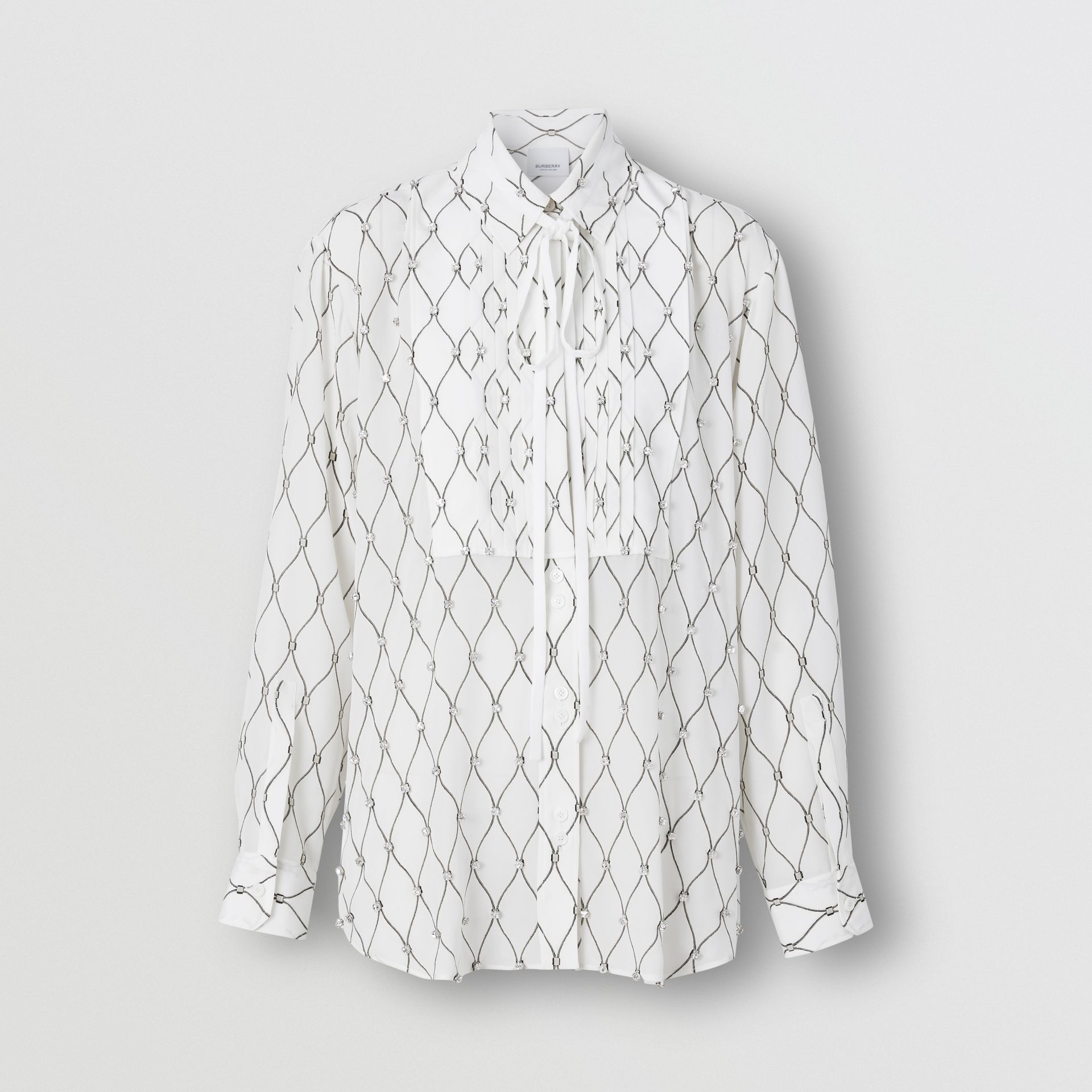 Crystal Detail Net Print Silk Oversized Tie-neck Shirt in White - Women | Burberry Canada - gallery image 3