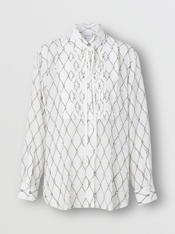Crystal Detail Net Print Silk Oversized Tie-neck Shirt in White - Women | Burberry Hong Kong S.A.R - cell image 3