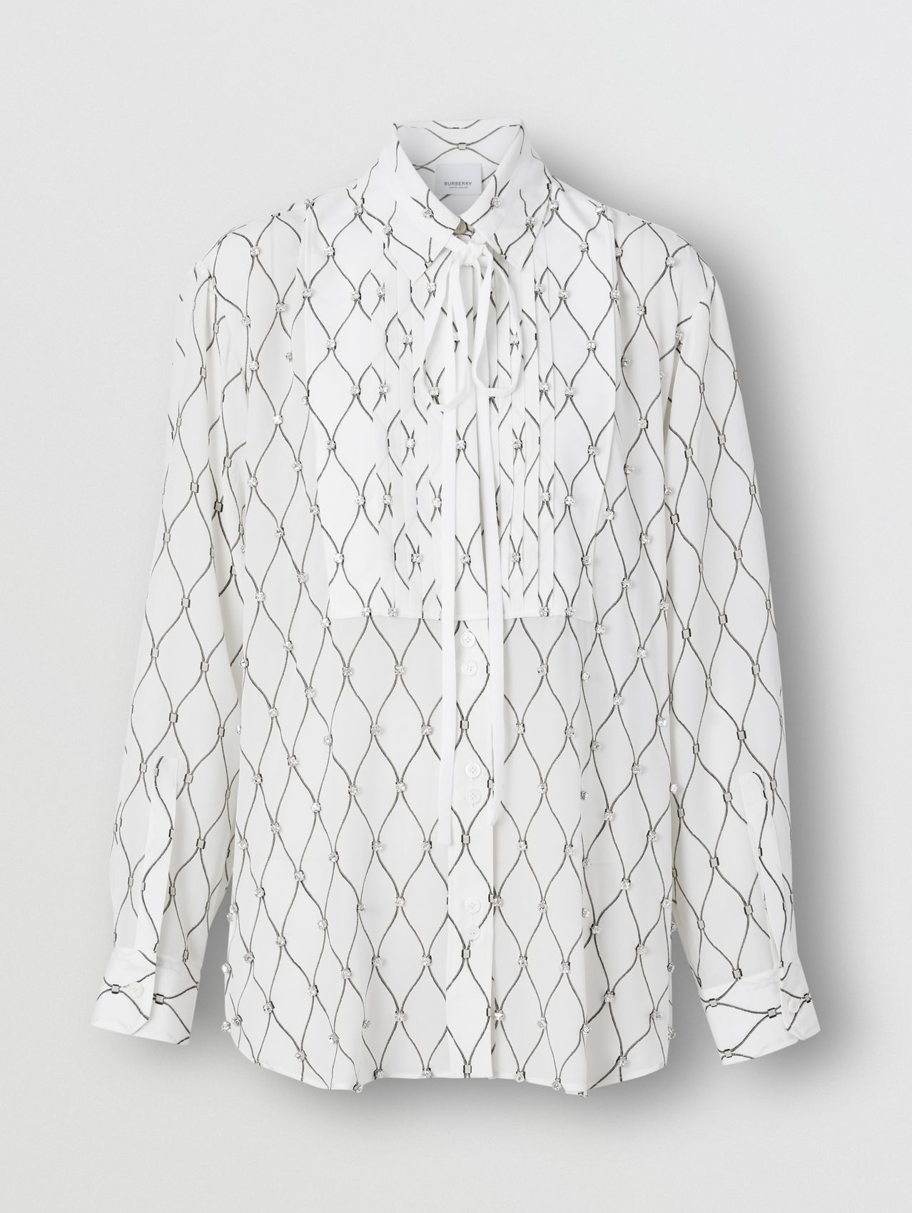 Crystal Detail Net Print Silk Oversized Tie-neck Shirt in White