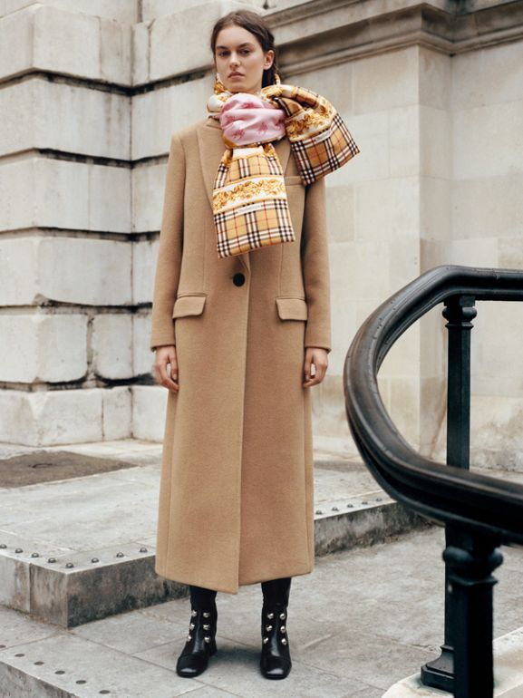 Oversized Lapel Camel Hair Tailored Coat - Women | Burberry United Kingdom - cell image 1