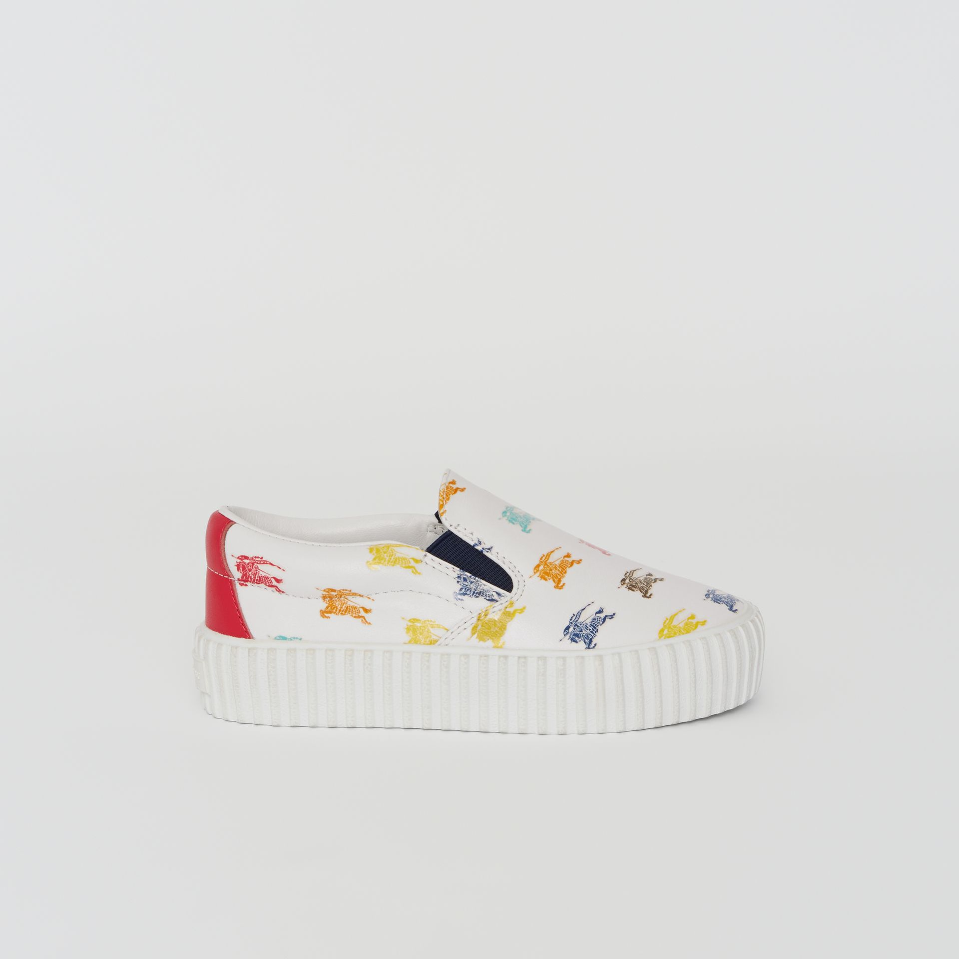EKD Leather Slip-on Sneakers in Optic White - Children | Burberry United Kingdom - gallery image 3