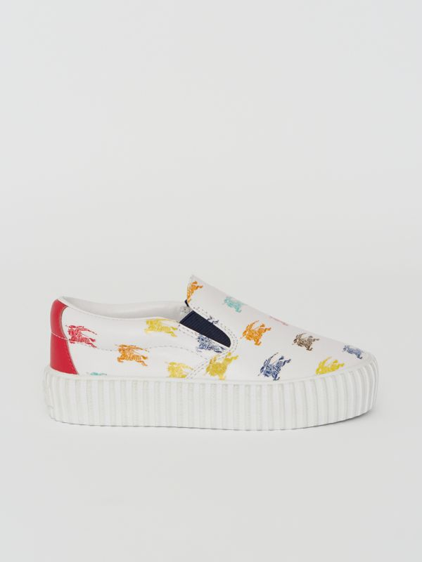 EKD Leather Slip-on Sneakers in Optic White - Children | Burberry United Kingdom - cell image 3