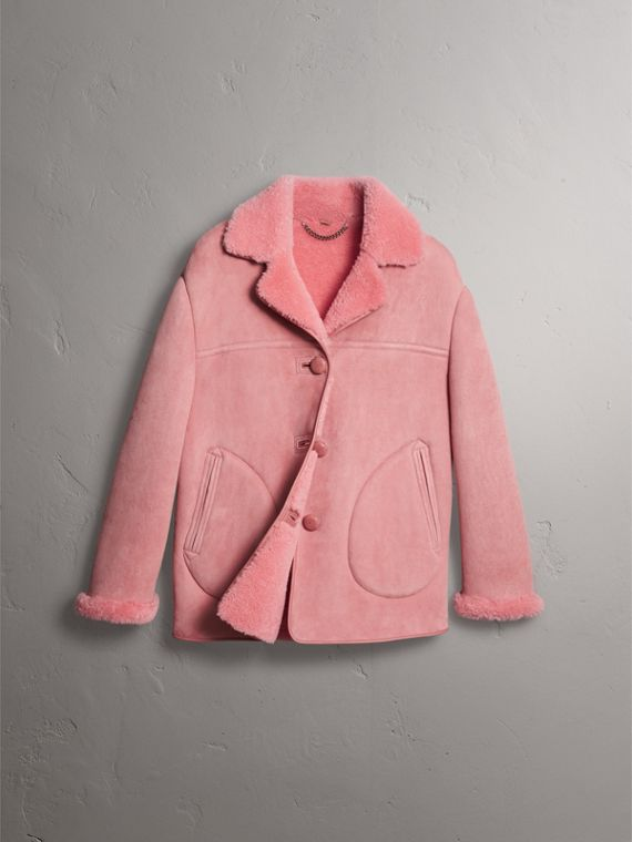 Leather Trim Shearling Oversized Jacket in Copper Pink - Women | Burberry - cell image 3