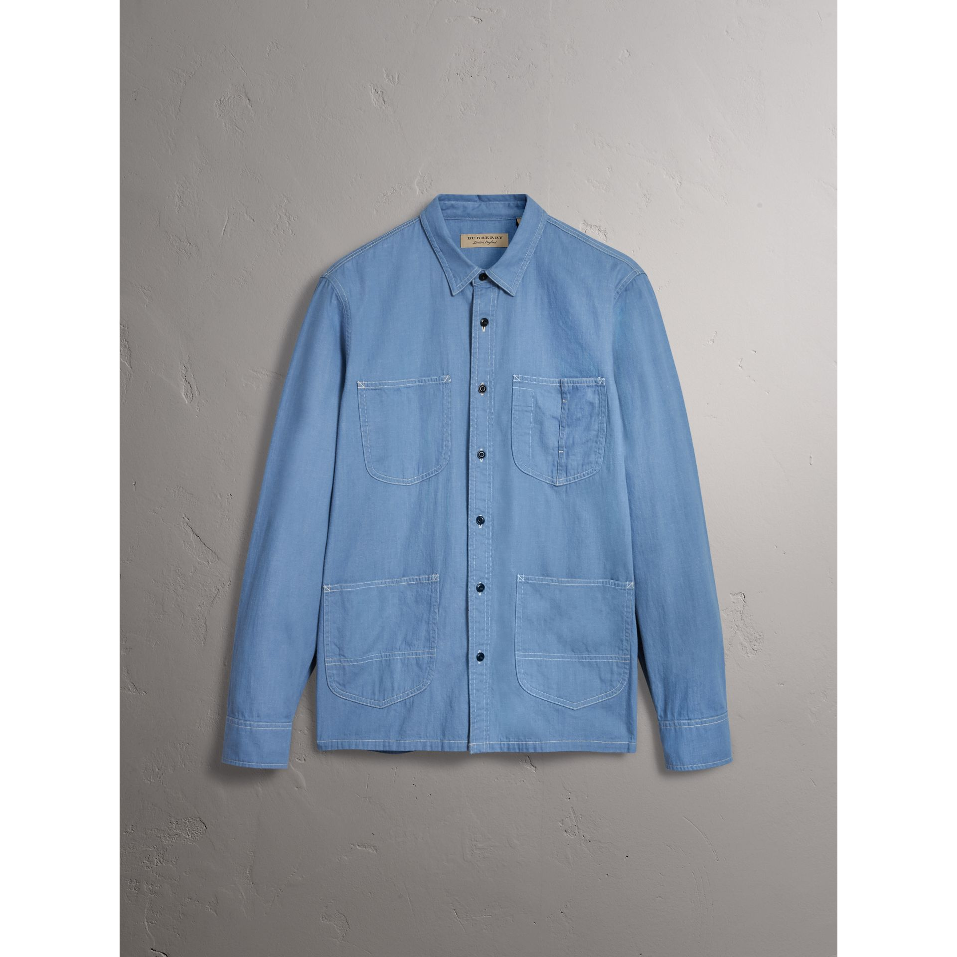 Japanese Denim Work Shirt in Light Blue - Men | Burberry United Kingdom - gallery image 4