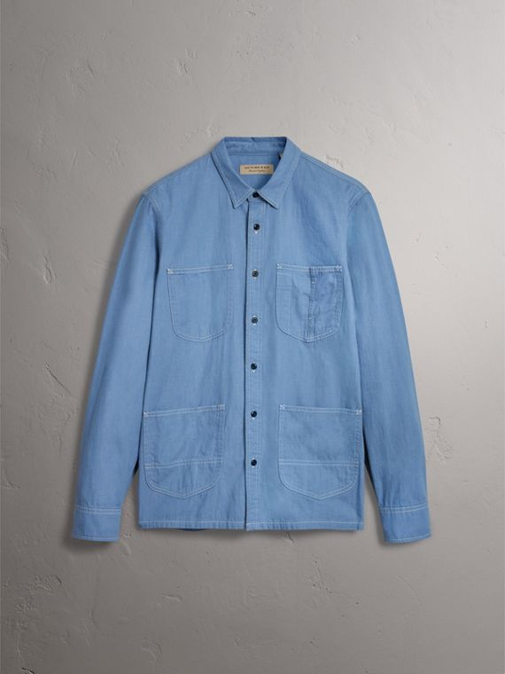 Japanese Denim Work Shirt in Light Blue - Men | Burberry United Kingdom - cell image 3