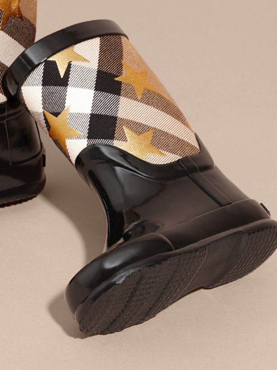 Black Star Print House Check Rain Boots - cell image 2