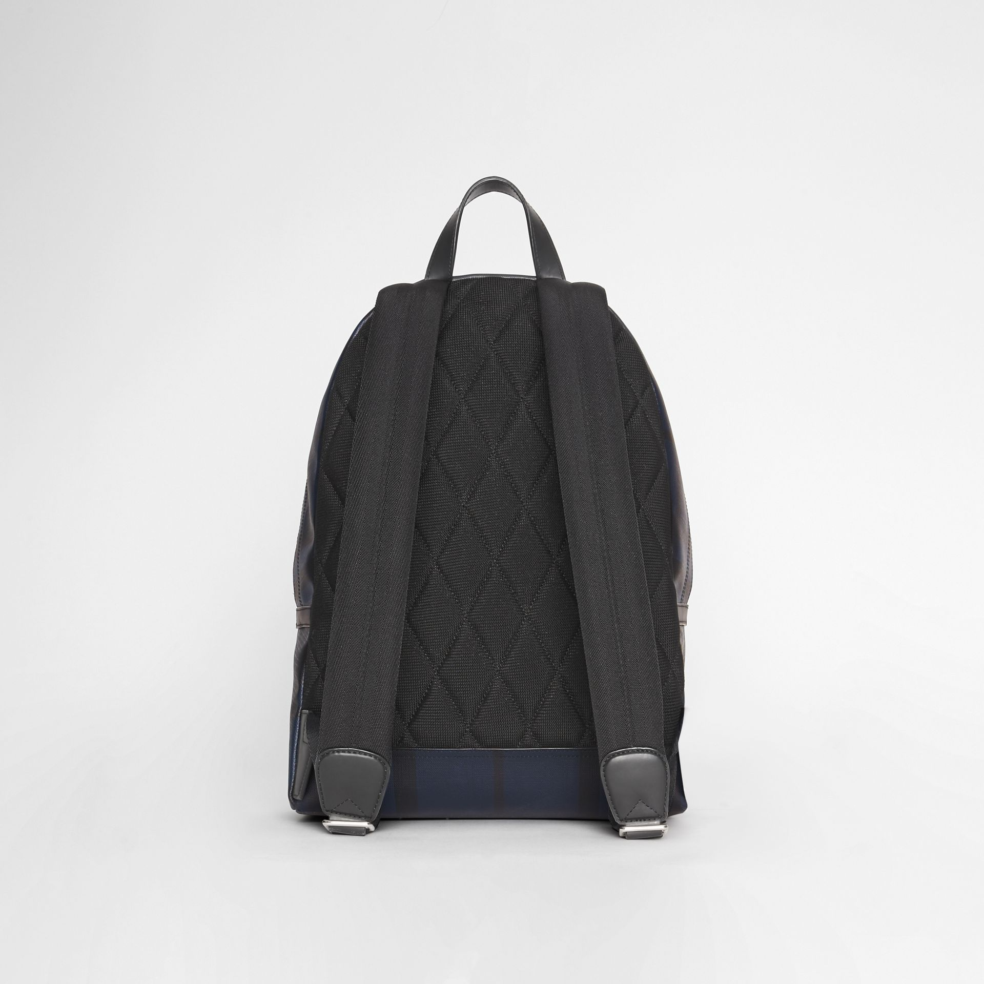 Leather Trim London Check Backpack in Navy/black - Men | Burberry - gallery image 7