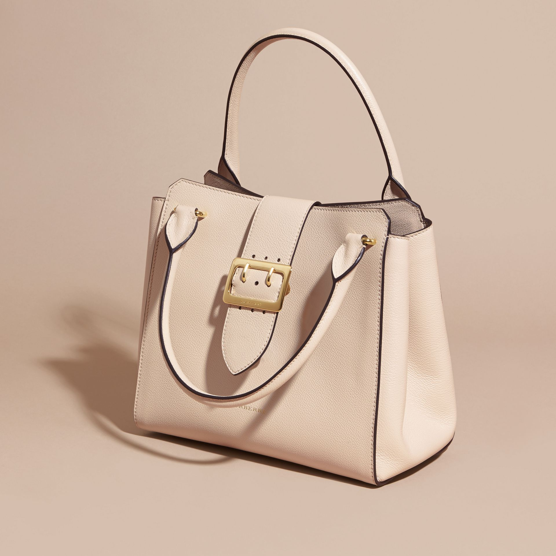 The Medium Buckle Tote in Grainy Leather in Limestone - gallery image 8