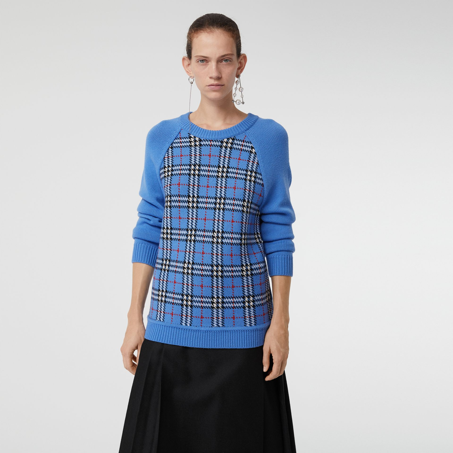Check Wool Jacquard Sweater in Sky Blue - Women | Burberry - gallery image 4