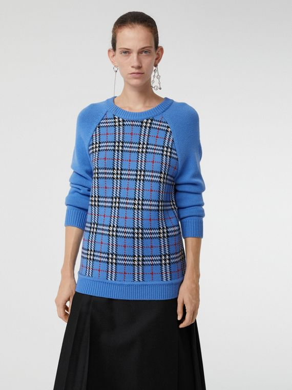 Check Wool Jacquard Sweater in Sky Blue