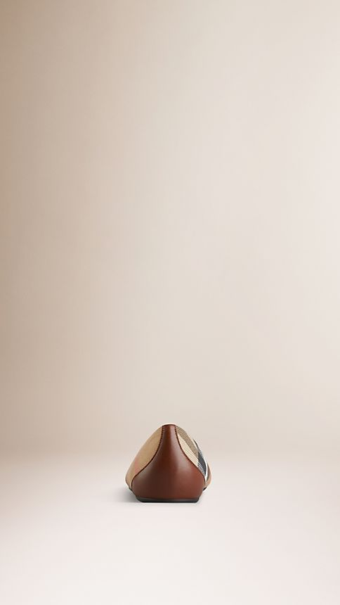 Dark tan Bridle House Check Ballerinas - Image 3