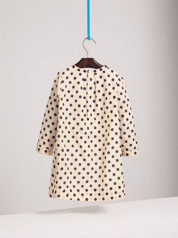 Spot Print Cotton Silk A-line Dress in Natural White - Girl | Burberry - cell image 3