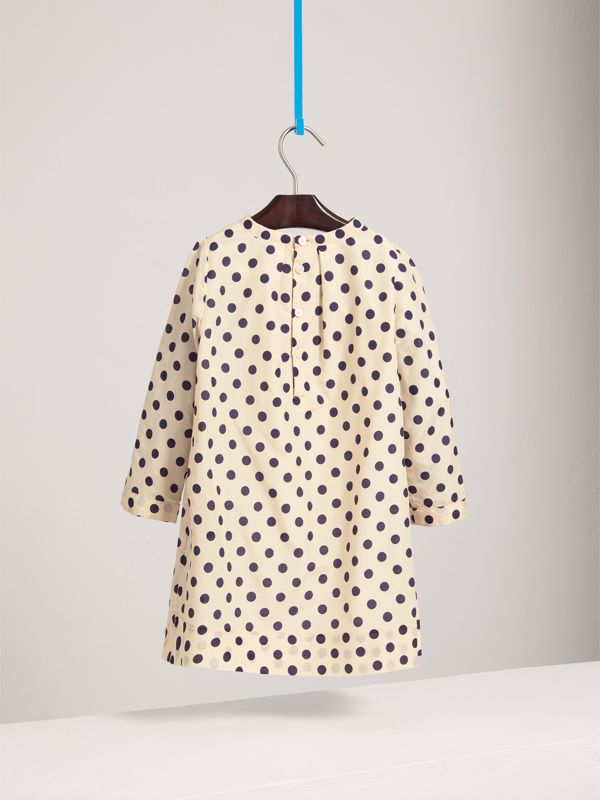 Spot Print Cotton Silk A-line Dress in Natural White | Burberry - cell image 3