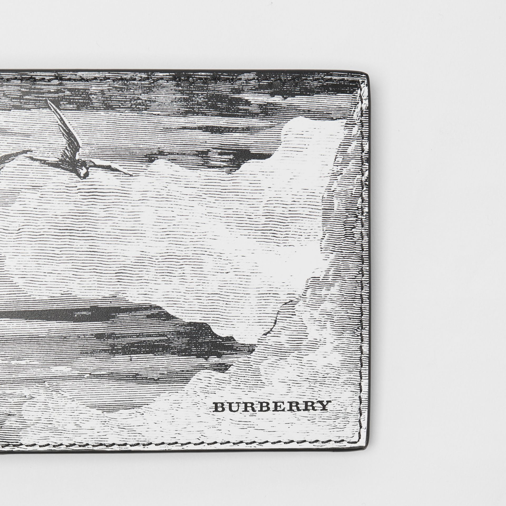 Dreamscape Print Leather International Bifold Wallet in Black/white - Men | Burberry United Kingdom - gallery image 1
