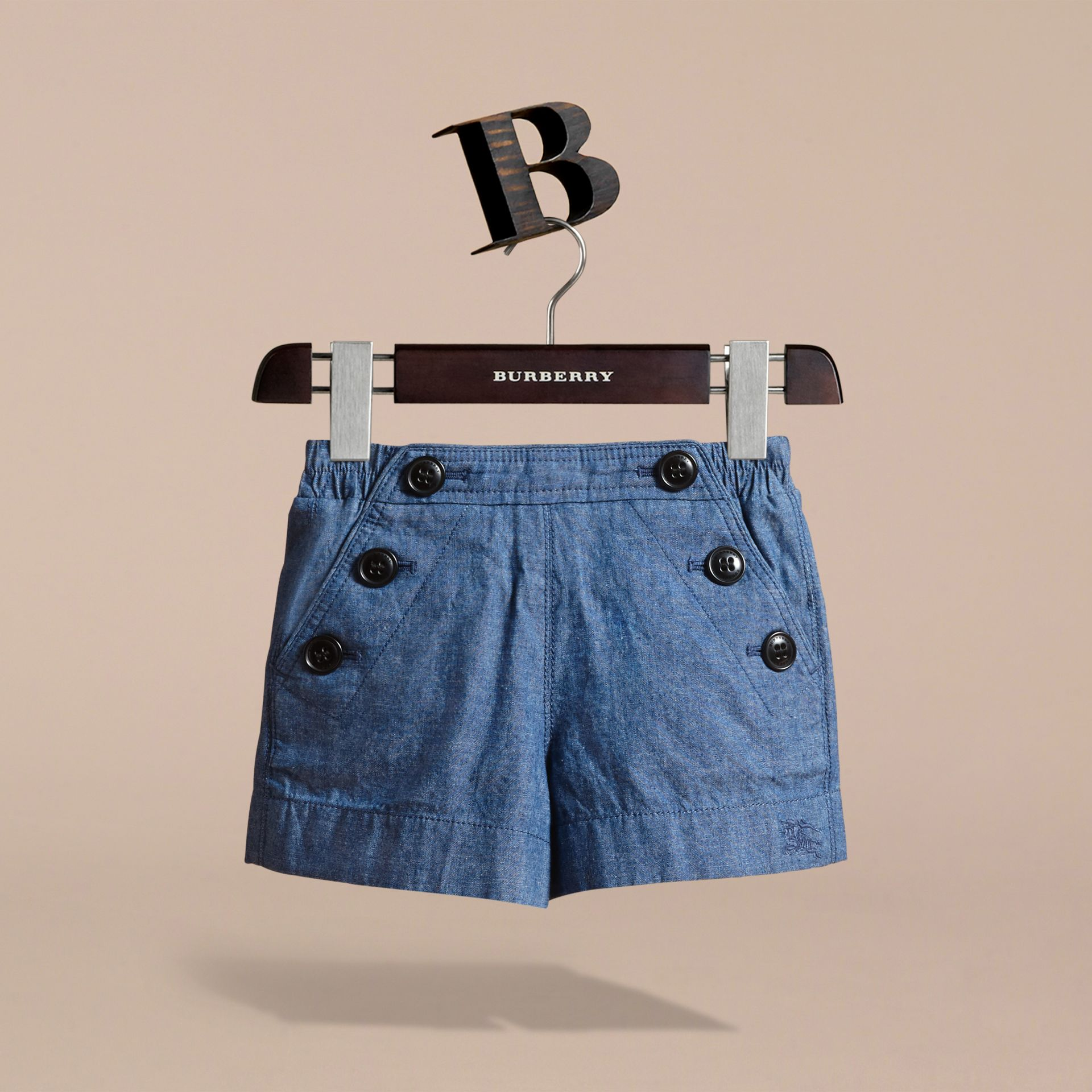 Button Detail Cotton Chambray Shorts - gallery image 3