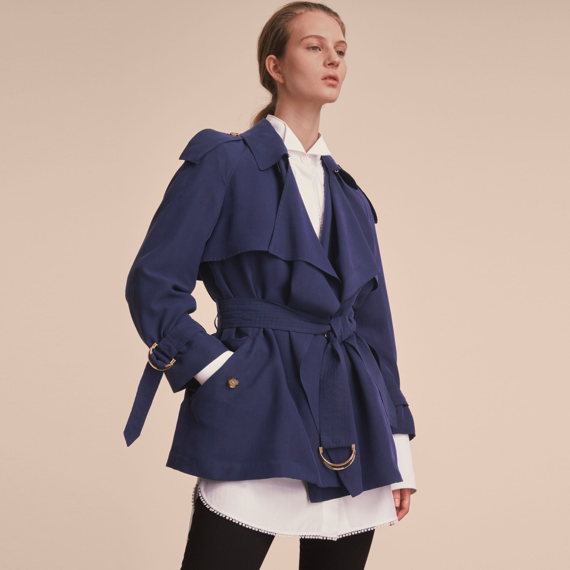 Silk Wrap Trench Coat Navy - gallery image 7