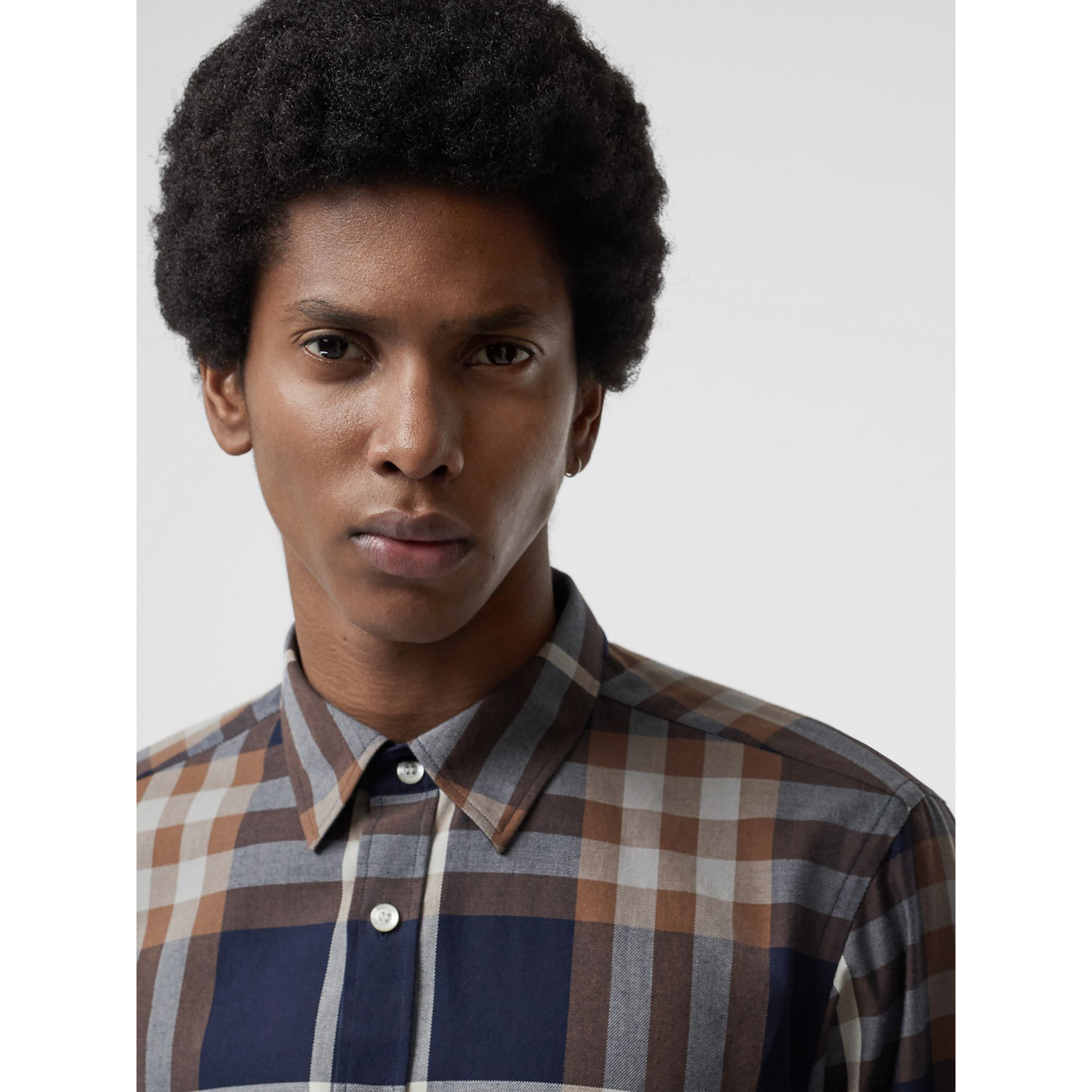 Check Cotton Flannel Shirt in Dark Navy - Men | Burberry Australia - gallery image 1