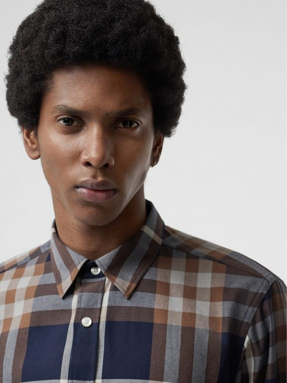 Check Cotton Flannel Shirt in Dark Navy - Men | Burberry - cell image 1