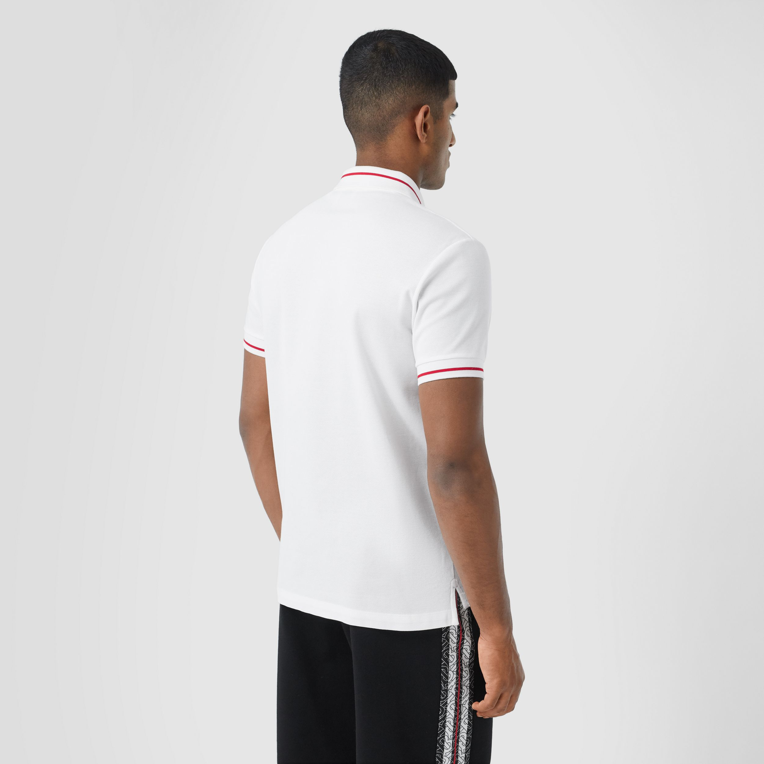 Logo Appliqué Cotton Piqué Polo Shirt in White - Men | Burberry Australia - 3