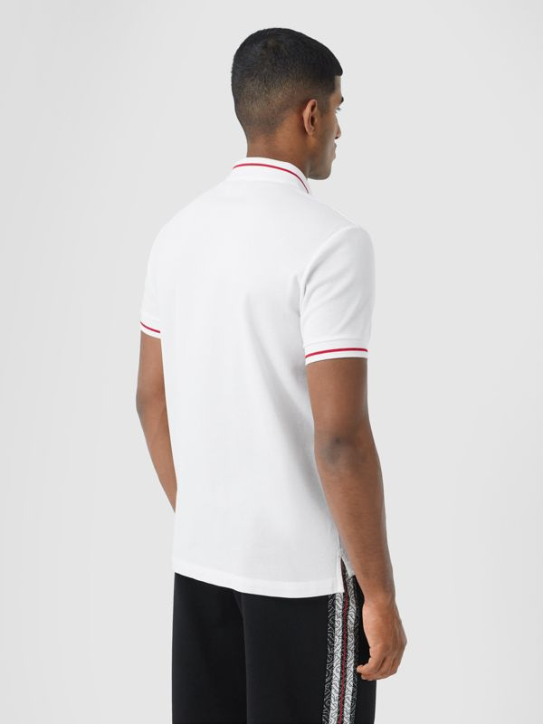 Logo Appliqué Cotton Piqué Polo Shirt in White - Men | Burberry - cell image 2
